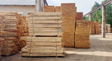 Stacks of fresh wooden planks