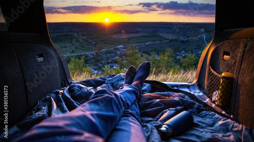 Obraz Man in the opened trunk of the car in Moldova - fototapety do salonu