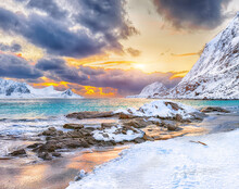 Fabulous Winter Scenery With Haukland Beach During Sunset And Snowy  Mountain Peaks Near Leknes.