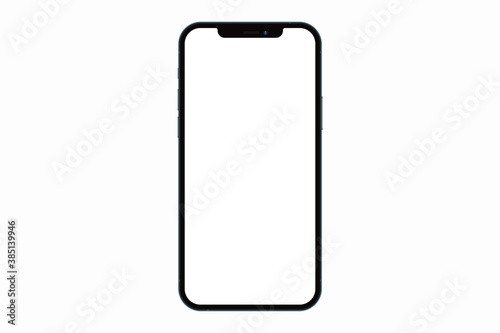 Anapa, Russian Federation - October, 14, 2020: New Iphone 12 Pro Max, Front side.  Smartphone mock up with white screen. Illustration for app, web, presentation, design