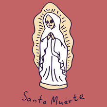 Saint Catrina On White Isolated Backdrop. Santa Muerte Statuette For Invitation Or Gift Card, Notebook, Bath Tile, Scrapbook. Phone Case Or Cloth Print Art. Doodle Style Stock Vector Illustration