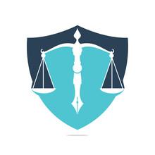 Law Logo Vector With Judicial Balance Symbolic Of Justice Scale In A Pen Nib. Shield Balance With Pen Nib Vector Template Design.