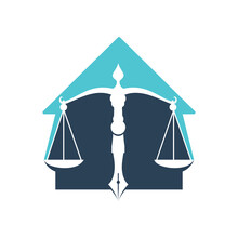House Of Law Logo Vector With Judicial Balance Symbolic Of Justice Scale In A Pen Nib. Home Balance With Pen Nib Vector Template Design.