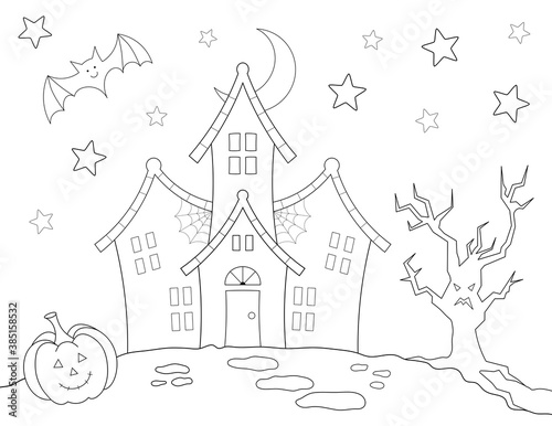 Valokuva haunted house halloween coloring page for kids