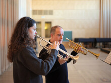 Teacher And Student In A Trumpet Lesson