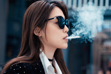Fashion Woman Smoking In City ...