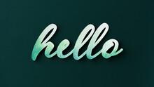Watercolor Word Hello