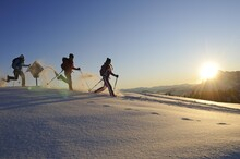 Snowshoers On A Snowshoe Hiking Tour, Eggenalm Alp, Tyrol, Tirol, Austria, Europe