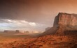 Sand storm before a thunderstorm in the evening light, mesas, Mitchell Mesa, Elephant Butte, Camel Butte, Raingod Mesa, Monument Valley, Navajo Tribal Park, Navajo Nation Reservation, Arizona, Utah, United States of America, USA, North America