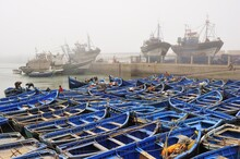 Small Blue Fishing Boats And Trawlers In The Fishing Port Of Essaouira, Atlantic Coast, Morocco, Africa