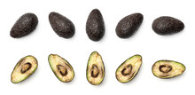Collection Of Hass Avocados Isolated On White Background
