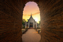 Wat Lok Moli Is A Buddhist Temple Is A Major Tourist Attraction Is An Ancient Thai Art And Is Public Places In Chiang Mai,Thailand