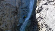 Rappelling Down The Bras Rouge Canyon, One Of The Most Beautiful In Reunion Island, The Paradise Of Canyoning.