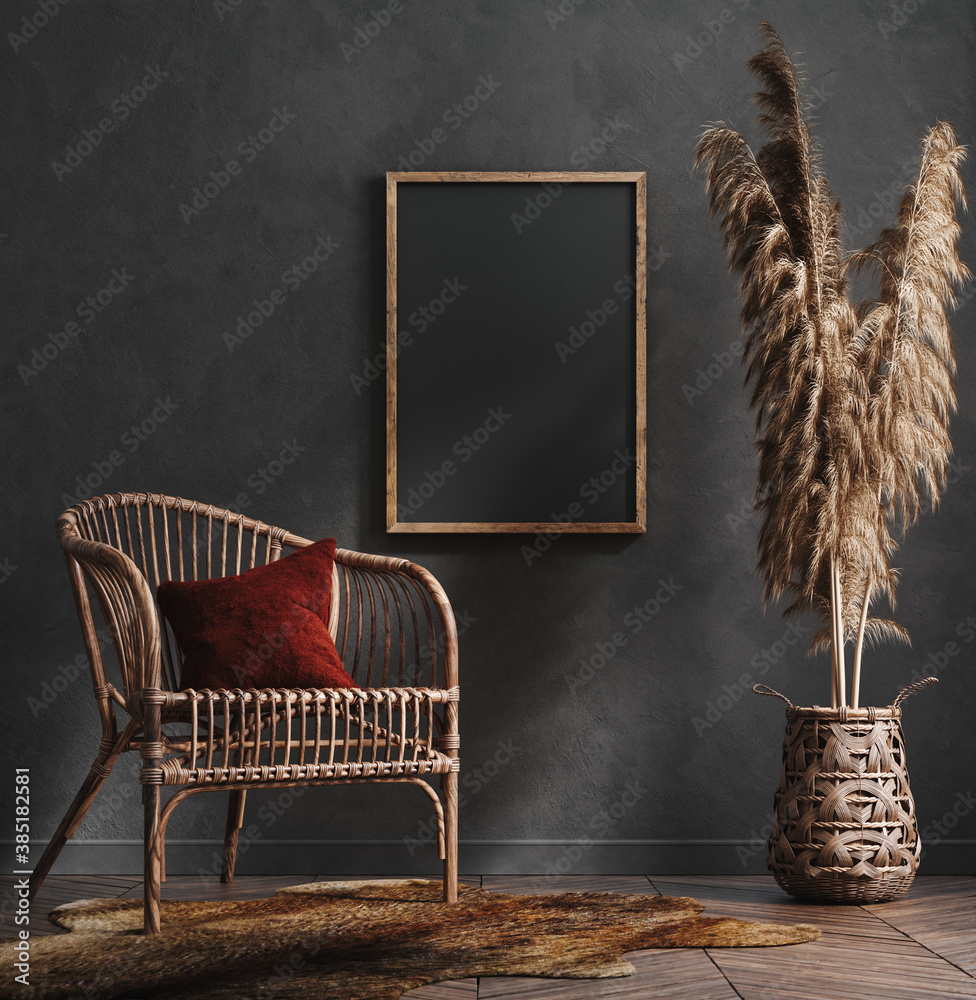Fototapeta Mock up poster frame in dark green living room interior, ethnic style, 3d render