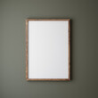 canvas print picture Mock up poster frame close up on wall painted dark green color, 3d render