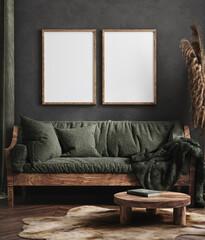 Fototapeta Tenis Mock up poster frame in dark green living room interior, ethnic style, 3d render