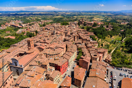 Naklejka premium Aerial view of Siena old town, medieval town with ancient architecture, Tuscany, Italy