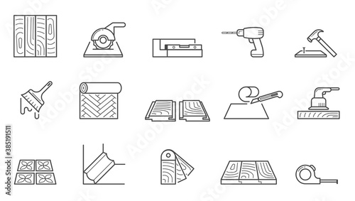 Obraz Home repair icons set. Wallpapering and installing laminate flooring polishing wooden floors laying tiles sawing tiles size and laying skirting boards nailing planks and false ceilings. Vector icon. - fototapety do salonu