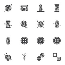 Sewing And Needlework Vector Icons Set, Modern Solid Symbol Collection, Filled Style Pictogram Pack. Signs, Logo Illustration. Set Includes Icons As Balls Of Yarn Knitting Needles, Thread , Scissors