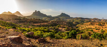 Beautiful Sunrise Highland Landscape In Tigray Region On The Road To Near City Mekelle. Ethiopia, Africa Wilderness