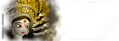 Fotomural Creative illustration of Goddess Durga in Happy Durga Puja and Subh Navratri wit