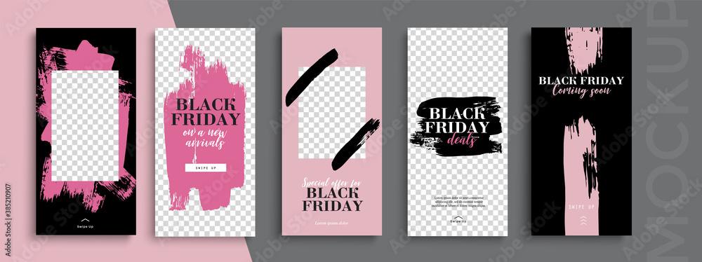 Fototapeta Black Friday Sale. Trendy editable Instagram Stories template. Design for social media.