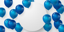 Celebration Party Banner With Blue Color Balloons Background. Sale Vector Illustration. Grand Opening Card Luxury Greeting Rich. Frame Template.