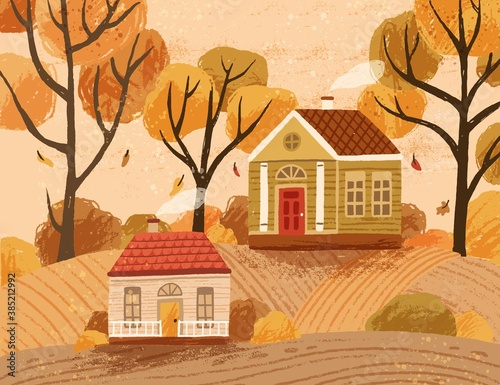 Autumn landscape with hygge houses Fotobehang