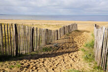 Pathway In Sand Beach To Access In Chatelaillon Plage Sea Near La Rochelle In France
