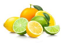 レモン、ライム、オレンジの柑橘系フルーツの集合