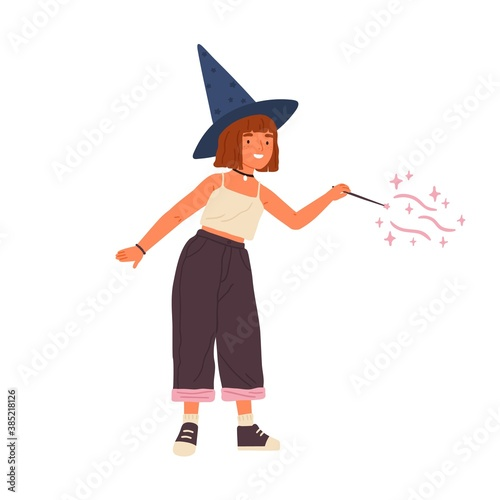 Leinwand Poster Cute girl wearing witch hat conjuring with magic wand