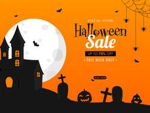Halloween Sale Poster Design W...