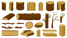 Wooden Timbers. Tree Trunk, Woodwork Planks And Logging Twigs, Lumber Industry Chopped Firewood Material Isolated Vector Illustration Icons Set. Oak Or Pine Lumber And Woodpile For Industry