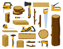 Woodwork Tools. Lumber Industry Wood Material Tree Trunk, Planks, Stacked Firewood And Ax, Circular Saw, Hammer Vector Illustration Symbols Set. Objects For Wood Production, Timber And Equipment
