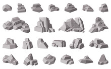 Rocks And Stones. Granite Mountain Pebble, Grey Stone Heap, Stone Gravel Rock Isolated Vector Illustration Icons Set. Different Boulders For Wall And Mountain, Game Concept. Huge Blocks