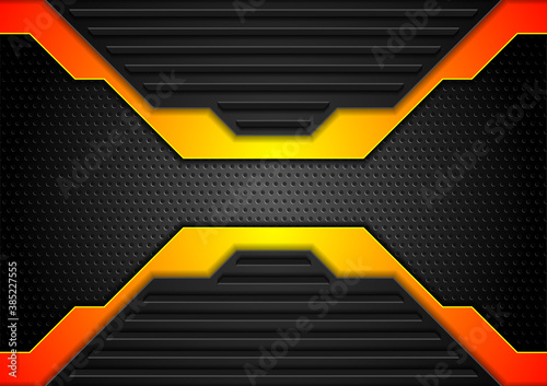 Orange and black futuristic abstract technology background. Vector geometric design