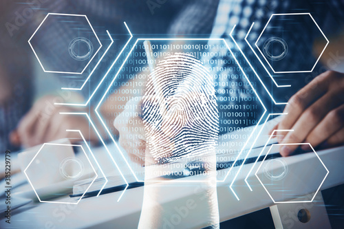 Fotografía Fingerprint scan provides safe access with biometrics identification, concept of the future of security and password control through advanced technology