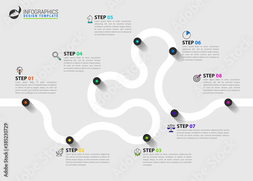 Infographic design template. Timeline concept with 8 steps - fototapety na wymiar