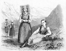 Hardanger Women Posing Crouched And Standing In Traditional Costumes, Norway. Ancient Grey Tone Etching Style Art By Saint-Blaise, Le Tour Du Monde, Paris, 1861
