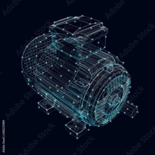 Fototapeta Electric motor frame made of blue lines with glowing lights on a dark background