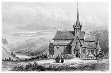 Lom Stave Wooden Pointed Church, Norway, Fronting A Vast Mountain Landscape. Ancient Grey Tone Etching Style Art By Girardet, Le Tour Du Monde, Paris, 1861