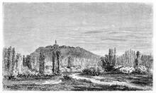 Vegetation On Flat Countryside In Lorraine, France. Houses And Distant Top Hills Village. Ancient Grey Tone Etching Style Art By Lancelot, Le Tour Du Monde, Paris, 1861