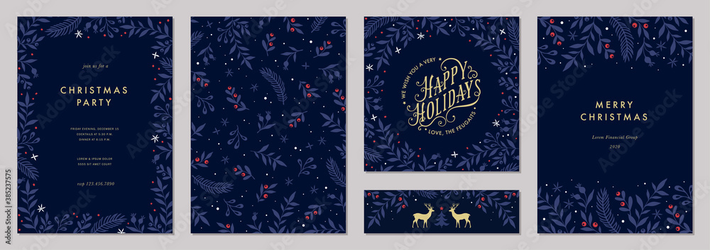 Fototapeta Modern universal artistic templates. Merry Christmas Corporate Holiday cards and invitations. Floral frames and backgrounds design. Vector illustration.