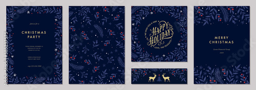 Modern universal artistic templates. Merry Christmas Corporate Holiday cards and invitations. Floral frames and backgrounds design. Vector illustration. - 385237575