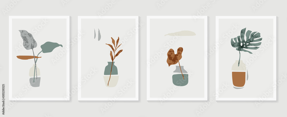 Fototapeta Botanical Monstera wall art vector set. Earth tone boho foliage line art drawing with  abstract shape.  Abstract Plant Art design for print, cover, wallpaper, Minimal and  natural wall art..