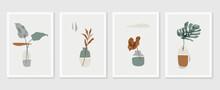 Botanical Monstera Wall Art Vector Set. Earth Tone Boho Foliage Line Art Drawing With  Abstract Shape.  Abstract Plant Art Design For Print, Cover, Wallpaper, Minimal And  Natural Wall Art..