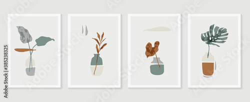 Obraz Botanical Monstera wall art vector set. Earth tone boho foliage line art drawing with  abstract shape.  Abstract Plant Art design for print, cover, wallpaper, Minimal and  natural wall art.. - fototapety do salonu