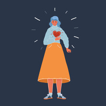 Vector Illustration Of Woman Clutching His Chest. She Having Heart Or Panic Attack. Woman Character On Dark Backgound.