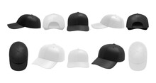 White And Black Caps Set. Collection Of Realism Style Drawn Sport Baseball Headwear Template From Front Top Side And Back View Or Angle. Illustration Of Summer Uniform Hat With Visor Mockup.