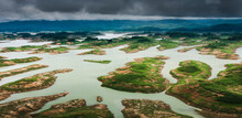 Aerial View Of A Dam And Rainf...